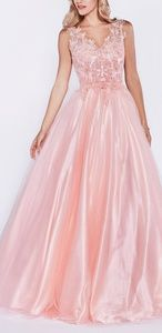 Blush pink formal gown. Quinceanera ball dress